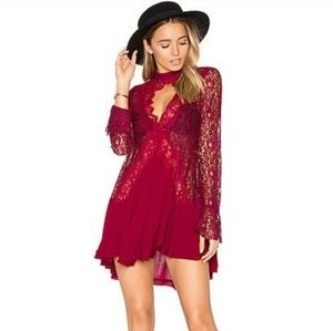 Red/ black lace raspberry tell tale tunic